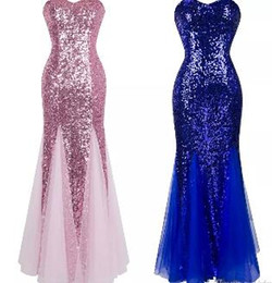 Purple Square Sequin Prom Dress Australia - Strapless Sleeveless Sweetheart Sequin Paillette Princess Ball Gown Bodycon Mermaid Illusion Tulle Prom Dress
