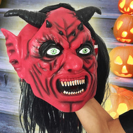 red devil mask 2020 - Yeduo Devil Inferno Satan Mask Horror Halloween Novelty Red Face Adult Size Party Head Long Hair for Women Men cheap red