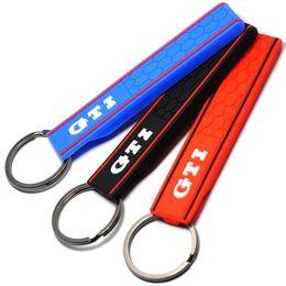 Chinese  Popular Cool Silicone GTI Logo Emblem Badge Car Keychain Key Ring for VW Golf MK2 MK3 MK4 MK5 MK6 MK7 Polo Car Styling Auto Accessories manufacturers