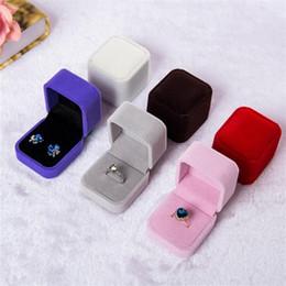 Wedding Display Cases NZ - Luxury Flocked Ring Gift Boxes Wedding Velvet Earrings Ring Box Jewelry Display Case Gift boxes Amazing 0115