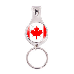 Nail flags online shopping - 2018 Fashion Canada Flag Multifunctional Keychain Silver Photo Nail Clipper Keyring Art Hand Craft Jewelry Glass Nail Clippers