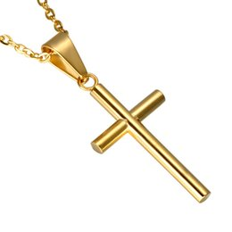 Vintage Crucifixes Australia - Vintage Original Gold Color Cross Pendant Men Stainless Steel Prayer Crucifix Religious Necklaces Pendants Christian Jewelry