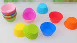 Cupcake Muffins Cake Australia - 7cm Round shape Silicone Muffin Cases Cake Cupcake Liner Baking Mold multiple colors jelly baking mold cup cupcake