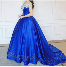 Discount cinderella quinceanera dresses - Cinderella Ball Gown Quinceanera Dresses Debutante Crystal celebrity dresses Puffy Prom Gowns Royal Blue Beads Masquerad