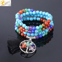 $enCountryForm.capitalKeyWord Australia - CSJA 108 Mala Beads Bracelets 7 Chakra Natural Gemstone 6mm Blue Turquoise Tree of Life Charms Jewelry 70cm Multilayers Wrap Bangle F722
