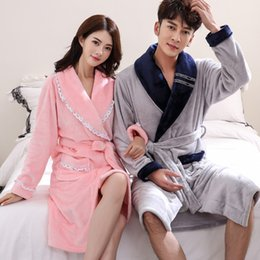 Robe Mans NZ - Women&Men Coral Fleece Nightgown Bathrobe Lovers Winter Thick Robe Gown Couple Warm Lounge Sleepwear