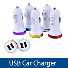 Adapters For Round Usb Australia - Universal Colorful Car Phone Mini Charger Round Square Quick Charge Adapter 2.1A 1.0A Micro auto power Adapter Dual USB 2 Port