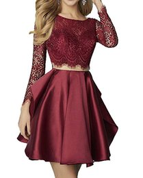 $enCountryForm.capitalKeyWord UK - 2018 Sexy Scoop Neck 2 Pieces Backless A-line Homecoming Dresses Long Sleeves Crystal Lace With Satin Mini Graduation Prom Cocktail Dress