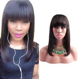 $enCountryForm.capitalKeyWord Australia - Baby Hair Full Lace Wigs for Black Women 100% Virgin Human Hair Lace Wigs Medium Cap 150% Density Silky Straight Natural Color