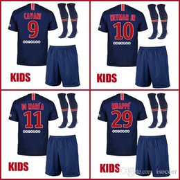 82fd54542 Kids 18 19 DANI ALVES MBAPPE NEYMAR JR soccer jerseys 2018 2019 CAVANI  football shirt VERRATTI Camiseta DI MARIA DRAXLER children maillot