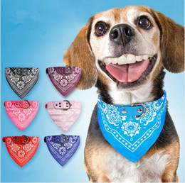 Discount dog collars designer Triangle Bibs Collar PU Leather Pet Collar Cool Triangle Scarf Dog Collar Adjustable Pet Accessories Puppy Cat Scarf 5 S