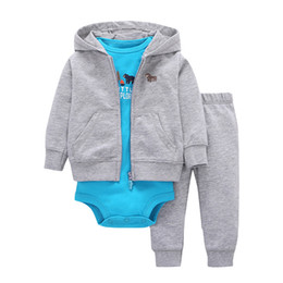 $enCountryForm.capitalKeyWord UK - white gray baby boy Girls 3 Pieces Set Clothes Hooded Zipper Full Sleeve Open flowers Coat+Full Sleeve Bodysuits+Pants