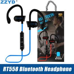 Опт ZZYD RT558 Bluetooth-наушники Ушной крючок Беспроводные Bluetooth-гарнитуры с шумоподавлением Sweatproof спортивные наушники для iPhone Xs X 7 8 Samsung