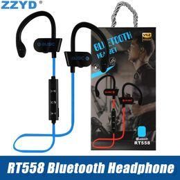 Großhandel ZZYD RT558 Bluetooth Kopfhörer Ohrbügel Drahtlose Bluetooth Headsets Noise Cancelling Sweatproof Sport Kopfhörer für iPhone Xs X 7 8 Samsung