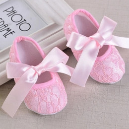$enCountryForm.capitalKeyWord Canada - lovely Baby Toddler lace shoes Baby Kid Slip Candy Color girls' Princess first walker PU shoes Baby Soft Sole Ballet Style Shoes
