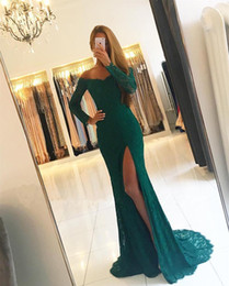 Discount long evening dresses fat women Long Sleeves Prom Evening Dresses For Fat Women Girls 2018 Lace Side Slit V neck Off shoulders Sequins Formal Pageant Gowns New
