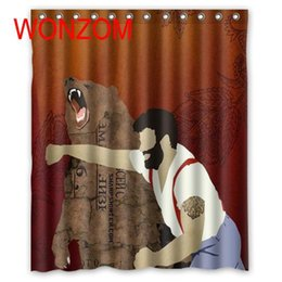 Bear Hooks NZ - WONZOM Bear Shower Bathroom Waterproof Accessories Curtains For Decor Modern 3D Polyester Animal Bath Curtain with 12 Hooks