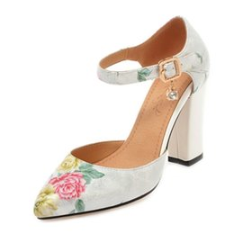 7e21a987915 SJJH 2018 Woman Sandals with Chunky Heel and Pointed Toe Elegant Style  Printed Chic Shoes with Large Size Available A101