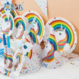 Discount theme party supplies wholesale - Children Birthday Supplies Suit 16 Items Party Pony Arrangement Prop Unicorn Rainbow Theme Holiday Hot Sale 36 8kk V