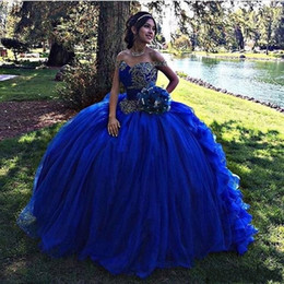 Wholesale 2018 Ball Gown Royal Blue Quinceanera Dresses Off The Shoulder Ruffles Vestidos Beaded Corset Sweet Puffy Sweep Train Evening Prom Gowns