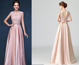 $enCountryForm.capitalKeyWord NZ - Real Pictures 2018 Blush Pink Long Evening Dresses Scoop Lace Appliqued Cheap Bridesmaid Party Prom Gowns