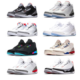 online store f34c2 62e9c Nike air jordan retro 3 Nuevos hombres zapatos de baloncesto International  Flight Blanco puro Negro Cemento