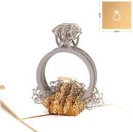 Wedding cards invitation diamonds online shopping - Gold Laser Cut d Diamond Ring Pop Up Wedding Invitations Romantic Handmade Valentine s Day for Lover Postcard Greeting Gift Card SN2043