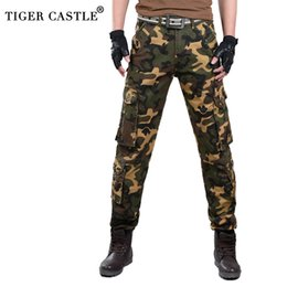 camouflaged trousers UK - Casual Mens Cotton Cargo Pants Multi-Pockets Tactical Camouflage Male Army Trousers Fashion High Quality Brand Pants