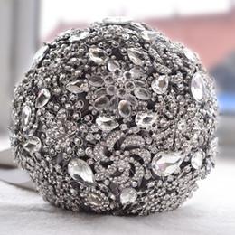 $enCountryForm.capitalKeyWord NZ - Luxurious Crystal Brooch Bridal Bouquet Ivory Gray Wedding Flowers Crystal Beading Bouquet Satin Bridal Bouquets Wedding Accessories
