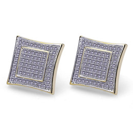 China Hiphop Stud earrings for women men gifts Luxury boho Zircon rhombus Dangle earrings gold plated Vintage geometric Jewelry wholesale 2018 new cheap vintage copper earrings dangle suppliers