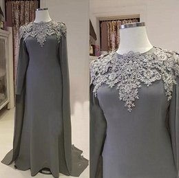 Wholesale Gray Muslim Evening Dresses With Cape Beaded Islamic Dubai Kaftan Saudi Arabic Long Evening Gown