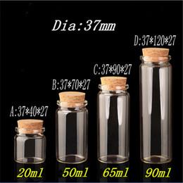 glass pill bottles 2019 - Glass Bottle with Cork Stopper Empty Jars Vial 20ml 50ml 65ml 90ml Sweets Vanilla Pill Food Perfume Gift Bottle Containe