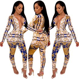 Wholesale Gold Chain Print Long Sleeve Bandage Jumpsuit Sexy Plunge V Neck Women Rompers Autumn Night Club Overalls Outfits