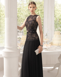 formal black lace tops Australia - Elegant Black A-Line Patterns of Lace Evening Dress Formal Sleeveless Long Party Beaded Tulle Sheer Top Evening Gown