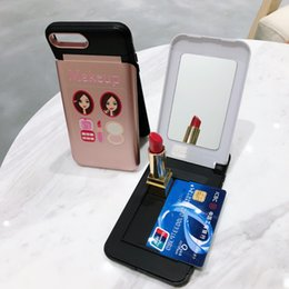 Make Phone Cases NZ - Fashion Phone Case with Mirror Card Holder Make Up Mobile Protective Cover Mix Color for Women Gift