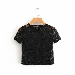 Discount crop tops for girls - Hollow Out Breathable Lace T Shirt For Women Girls Flower Pattern Crochet Crop Tops Summer Style Black White Short Sleev