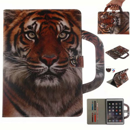 Wholesale Tablet Case Coque For iPad Mini Covers Cases Handle Flip Cover Stand Leather Wallet Bag Card Coloured drawing Tiger Lion wolf