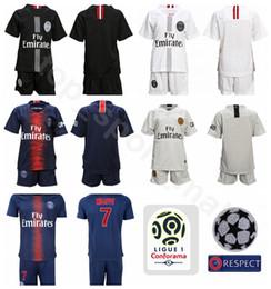 c1835ad17fa Youth 2019 Ligue 1 Soccer Paris Saint Germain DI MARIA Jersey PSG Kids  MBAPPE CAVANI SILVA Football kits Children Team Blue Custom Name