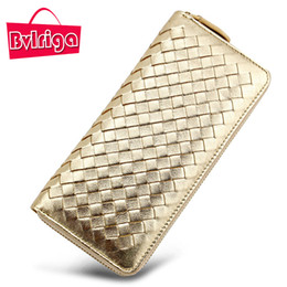 woven clutch bags UK - BVLRIGA Brand Luxury Genuine Leather Women Wallet Female Purse Weave Credit Card Holder Gold Clutch Phone Holders Money Bag 2017