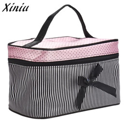 makeup organiser bag NZ - Xiniu New Cosmetic Bag Bowknot Stripe Makeup Square Storage Box Make Up Organiser Container Pouch Bag A0711