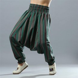 Discount yoga bloomers harem pants - Men Yoga Pants Loose Wide Leg Cotton Linen India Nepal Male Harem Yoga Trousers Casual Sports Crotch Pants Bloomers for