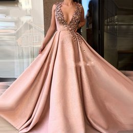 1a2da633517f Sexy Deep V Neck Evening Dresses Beaded Vestidos Dubai Turkish Arabic  Lebanon Prom Dress Formal Party Gowns