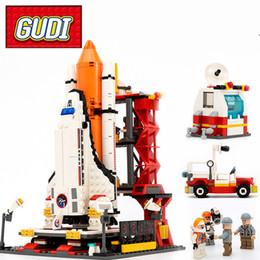 Toys Bricks Australia - GUDI Blocks Legoings Block City Spaceport Space Shuttle Launch Center Building Block 679pcs Classic Brick Educational Toys For Children