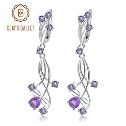 Amethyst bridAl jewelry online shopping - GEM S BALLET Flower Design Ct Natural Amethyst Drop Earrings For Bridal Sterling Silver Wedding Jewelry For Women