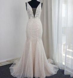 MerMaid sweetheart spaghetti strap low back online shopping - V Neck Mermaid Wedding Dresses Low Back Pearl Beaded Sleeveless Appliqued Beaded Real Photo