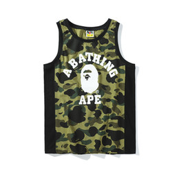 $enCountryForm.capitalKeyWord Canada - 2018 Fashion Style APE Tshirts Summer New Male Camouflage Print OFF Youth Casual Cotton Vest White Pullover Sleeveless Shirts for Men Women