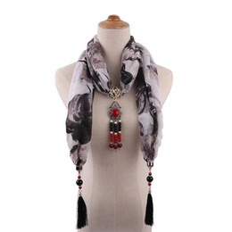 Pearl Bib UK - Women's Cotton Collar Jewelry Necklace Pendant Scarves Ethnic Style Retro Mongolia Long Tassel Six Color Clothing Accessories Gift Bib
