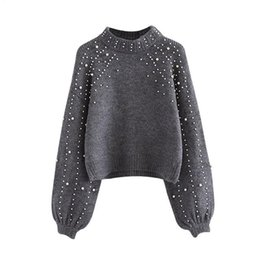 China Pearl Beaded Rib Knit Jumper Winter Sweater Womens Pullover Sweaters Grey Stand Collar Long Sleeve Tight Sweater WG229 supplier womens grey sweaters suppliers