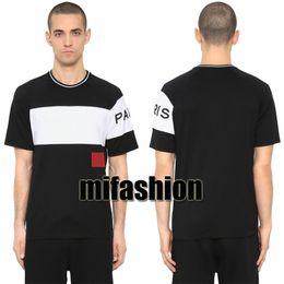 18ss luxe europe paris broderie contraste patchwork tshirt mode hommes concepteur t-shirt casual hommes vêtements coton tee en Solde