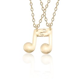 Simple Gold Pendant For Men NZ - 2pcs set Simple Musical Note Pendant Necklace For Women Men Music Friendship Jewelry Best Friends BFF Couple Birthday Gift Colar